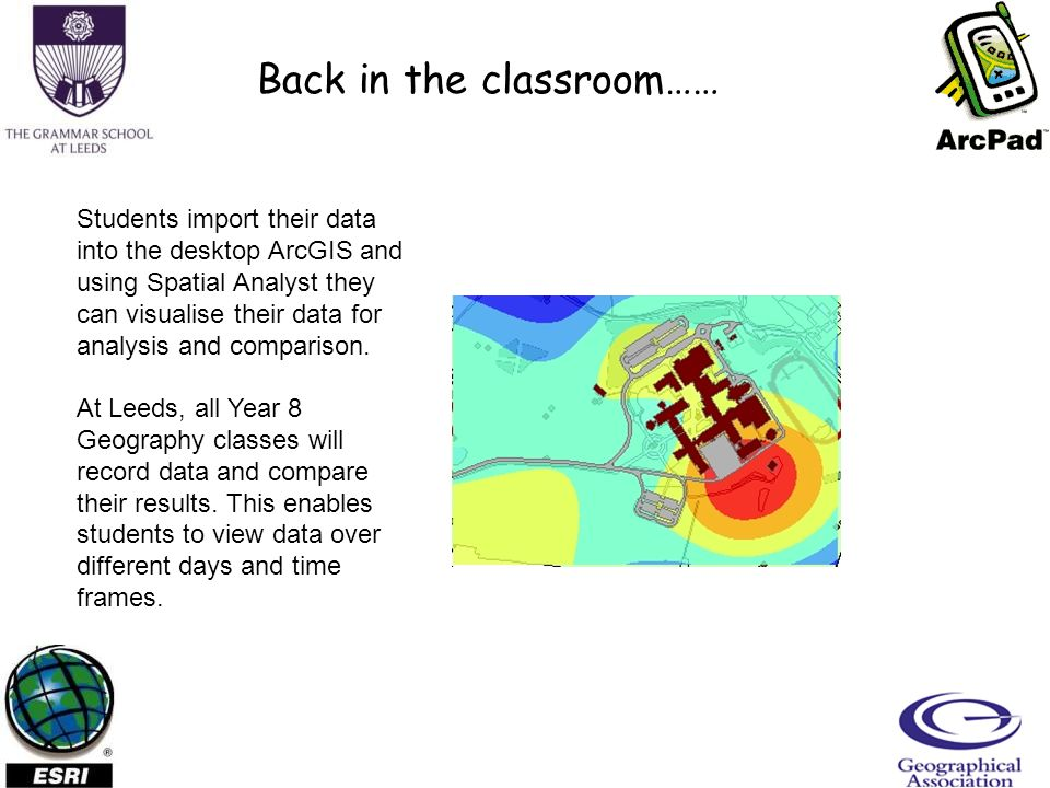 Back in the classroom…… Students import their data into the desktop ArcGIS and using Spatial Analyst they can visualise their data for analysis and comparison.