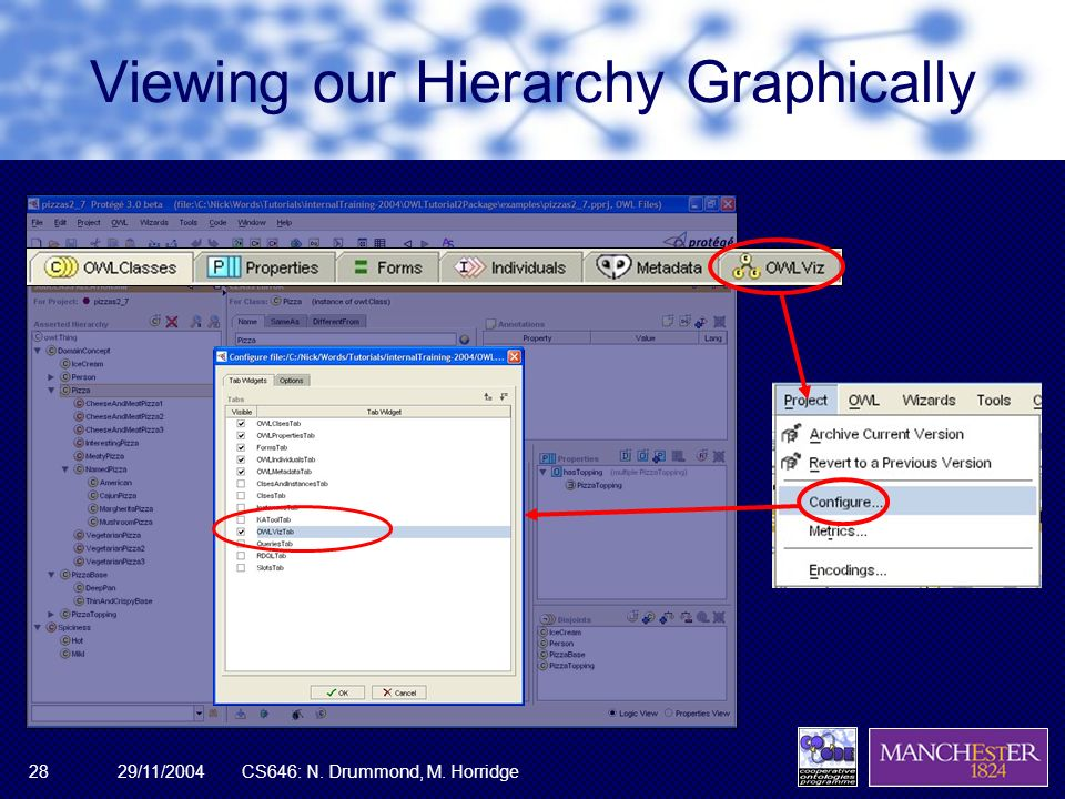 29/11/2004CS646: N. Drummond, M. Horridge28 Viewing our Hierarchy Graphically