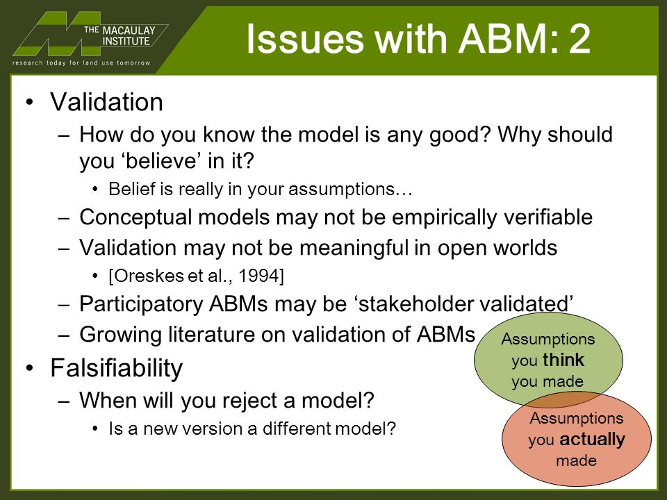Issues with ABM: 2 Validation –How do you know the model is any good.