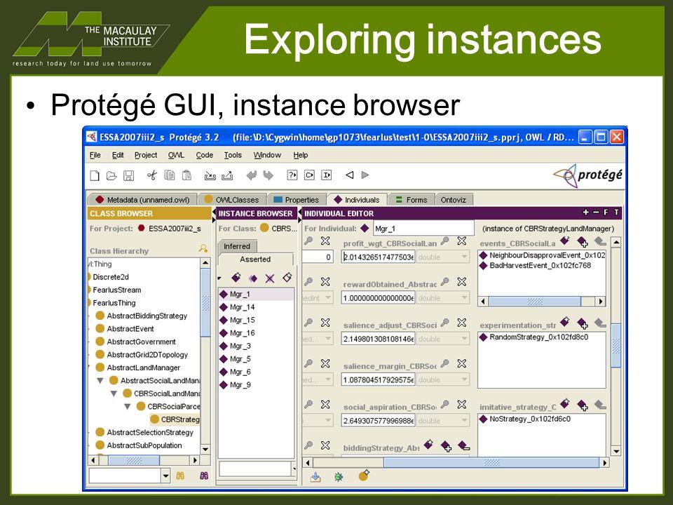 Exploring instances Protégé GUI, instance browser