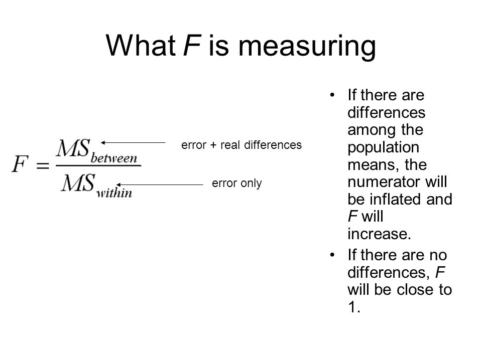 What F is measuring If there are differences among the population means, the numerator will be inflated and F will increase. If there are no differenc