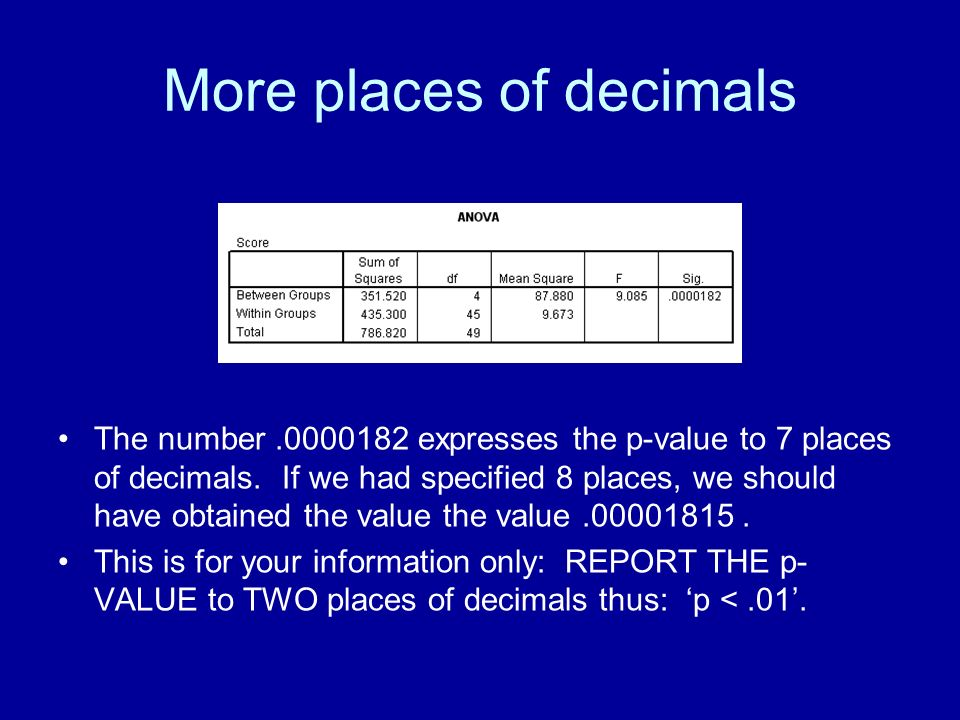 More places of decimals The number.0000182 expresses the p-value to 7 places of decimals. If we had specified 8 places, we should have obtained the va