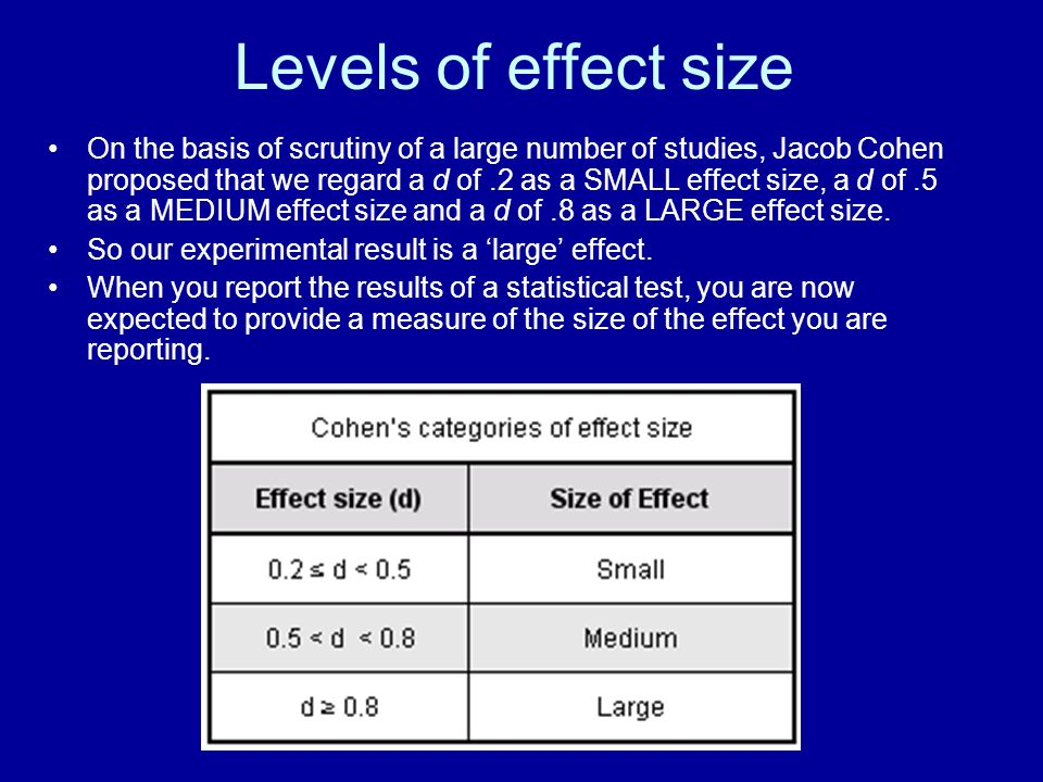 Levels of effect size On the basis of scrutiny of a large number of studies, Jacob Cohen proposed that we regard a d of.2 as a SMALL effect size, a d