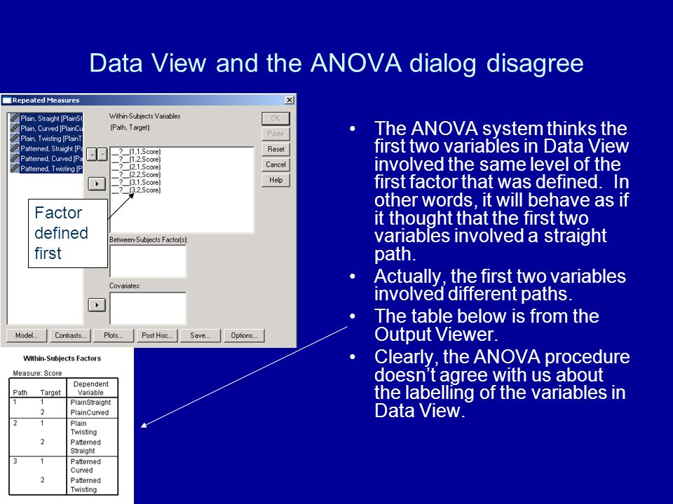 Data View and the ANOVA dialog disagree The ANOVA system thinks the first two variables in Data View involved the same level of the first factor that