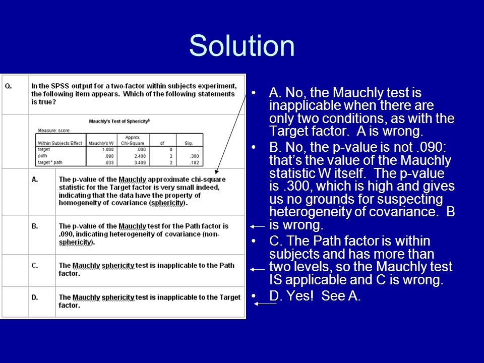 Solution A. No, the Mauchly test is inapplicable when there are only two conditions, as with the Target factor. A is wrong. B. No, the p-value is not.