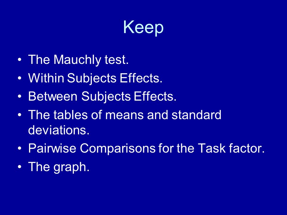 Keep The Mauchly test. Within Subjects Effects. Between Subjects Effects. The tables of means and standard deviations. Pairwise Comparisons for the Ta