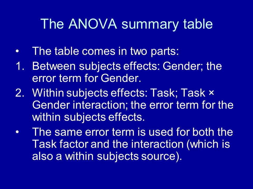 The ANOVA summary table The table comes in two parts: 1.Between subjects effects: Gender; the error term for Gender. 2.Within subjects effects: Task;