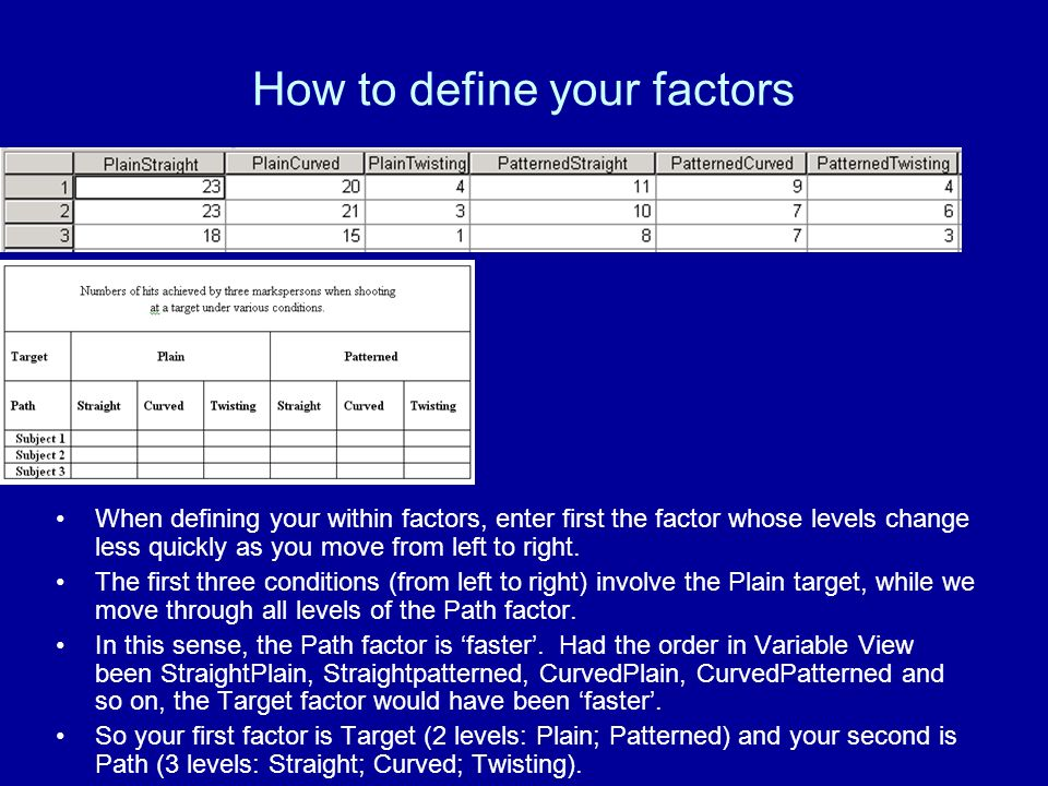 How to define your factors When defining your within factors, enter first the factor whose levels change less quickly as you move from left to right.