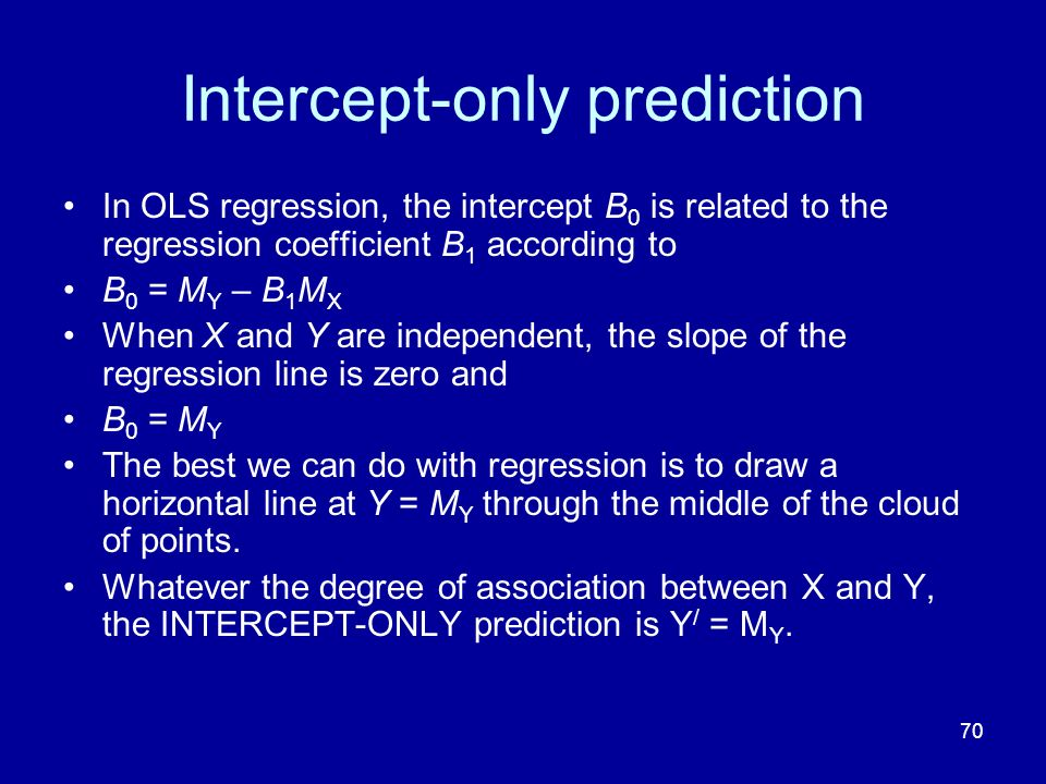 70 Intercept-only prediction In OLS regression, the intercept B 0 is related to the regression coefficient B 1 according to B 0 = M Y – B 1 M X When X