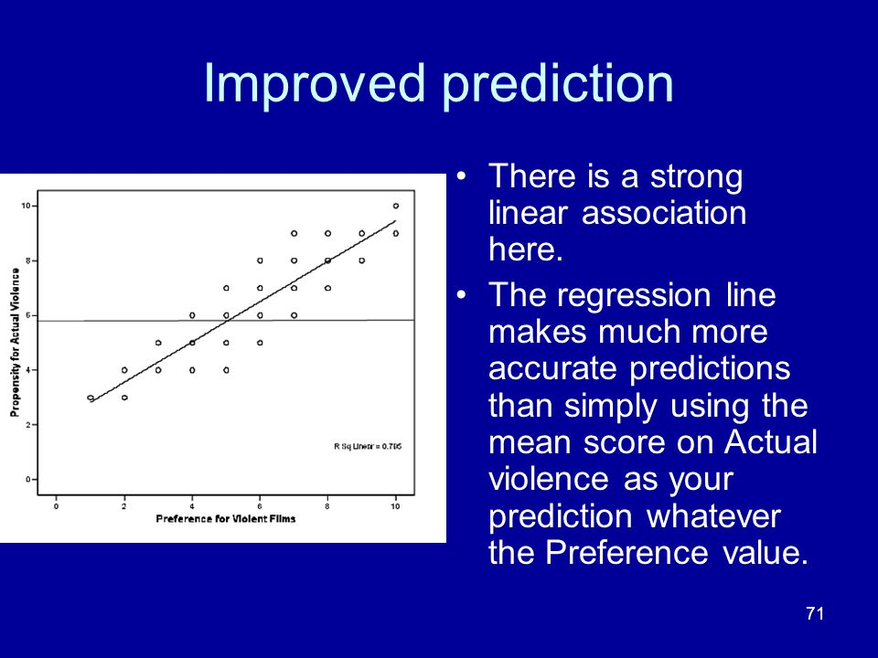 71 Improved prediction There is a strong linear association here. The regression line makes much more accurate predictions than simply using the mean