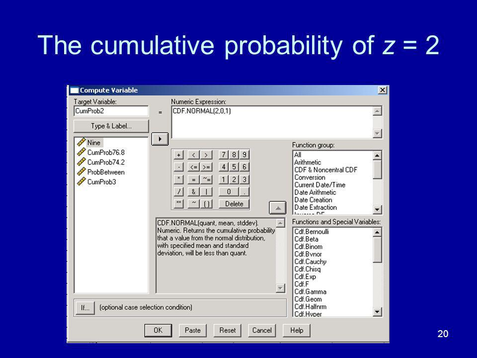 20 The cumulative probability of z = 2