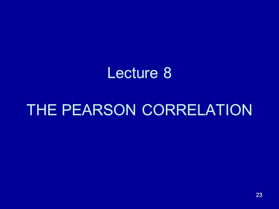 23 Lecture 8 THE PEARSON CORRELATION
