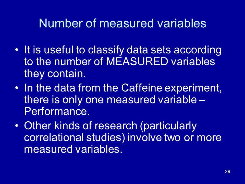 29 Number of measured variables It is useful to classify data sets according to the number of MEASURED variables they contain.