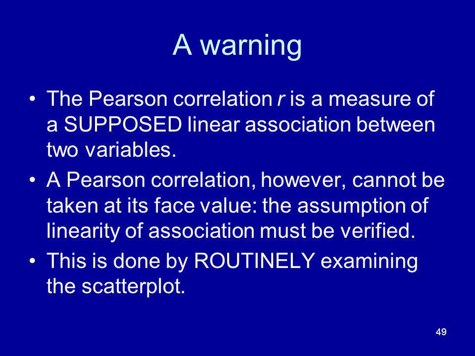 49 A warning The Pearson correlation r is a measure of a SUPPOSED linear association between two variables.