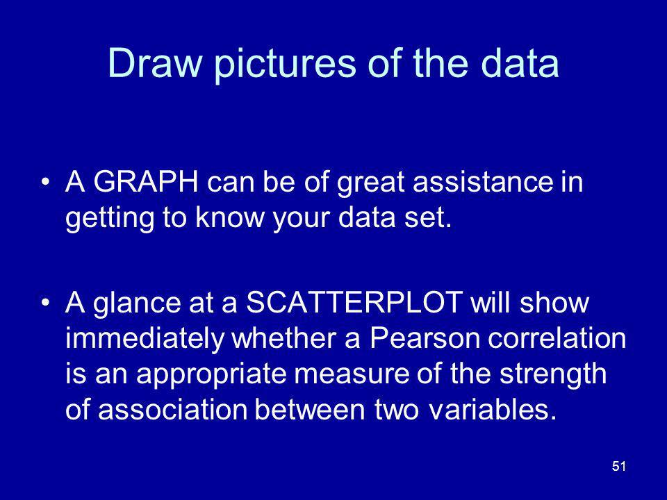 51 Draw pictures of the data A GRAPH can be of great assistance in getting to know your data set.