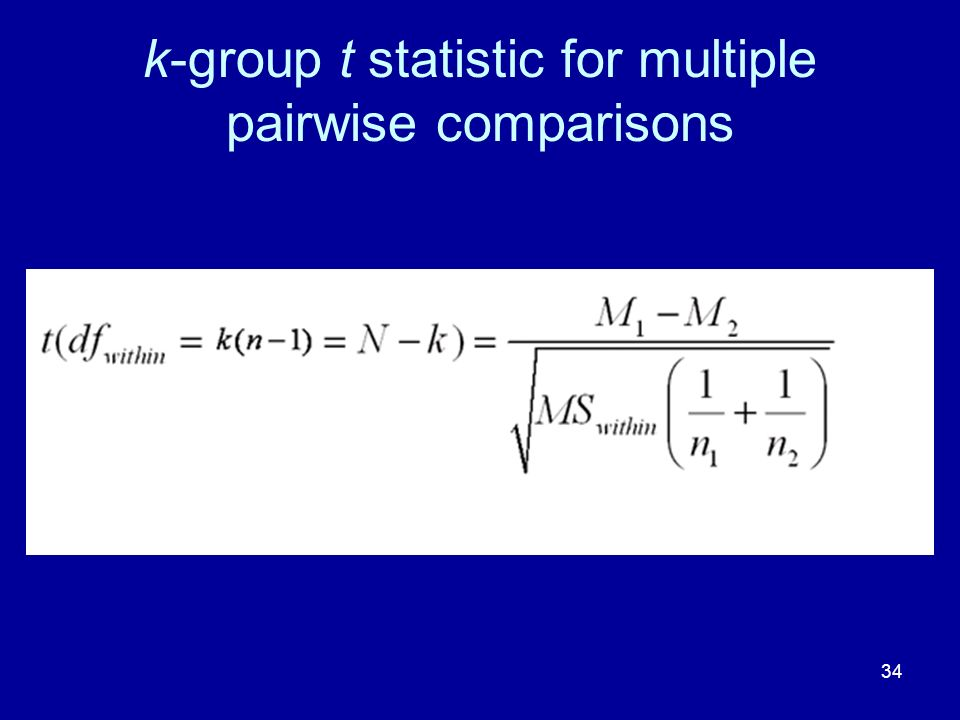 34 k-group t statistic for multiple pairwise comparisons