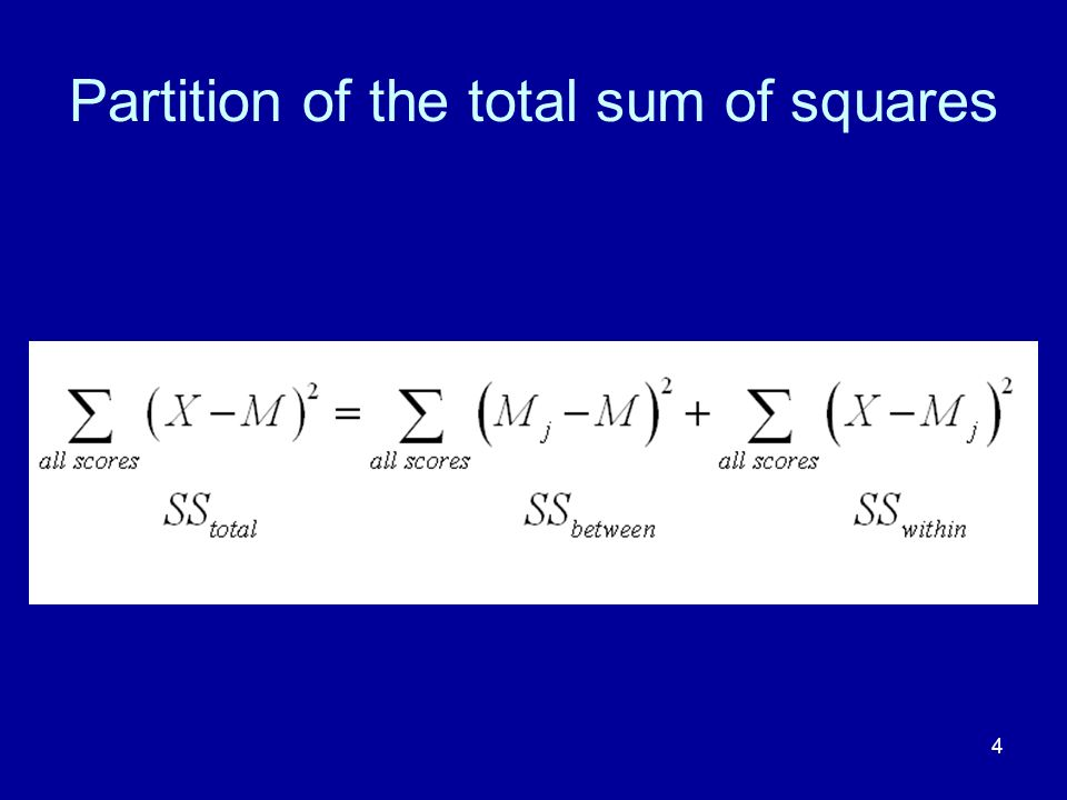 4 Partition of the total sum of squares