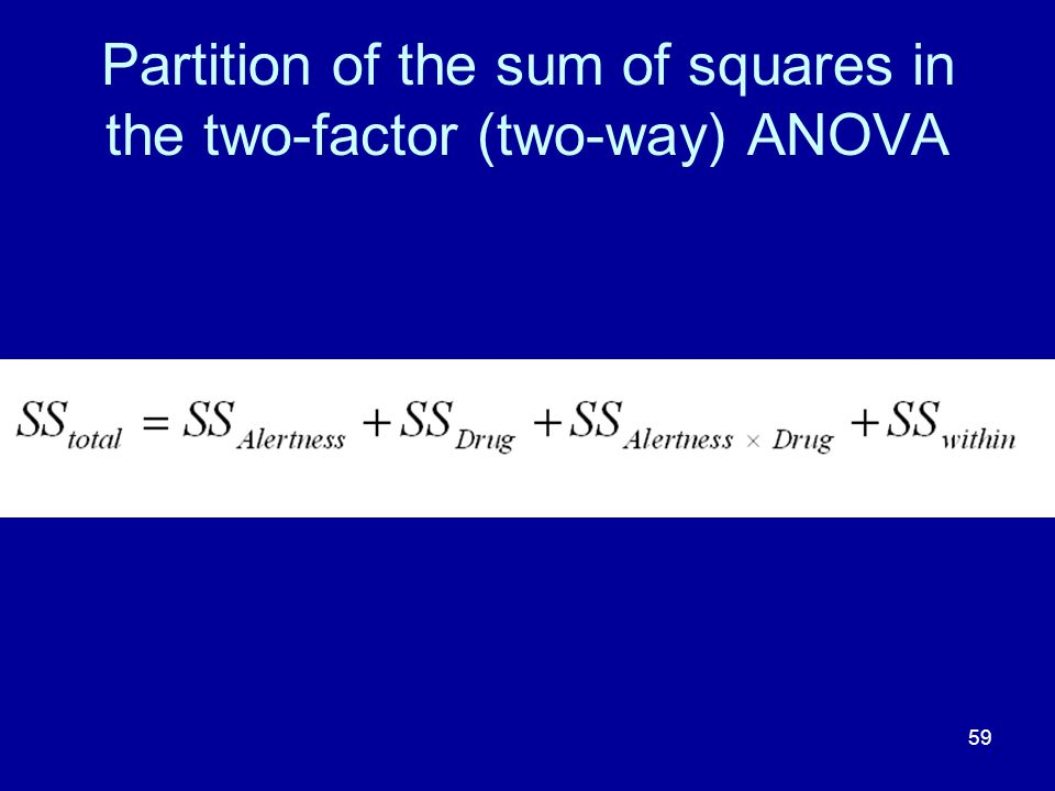59 Partition of the sum of squares in the two-factor (two-way) ANOVA