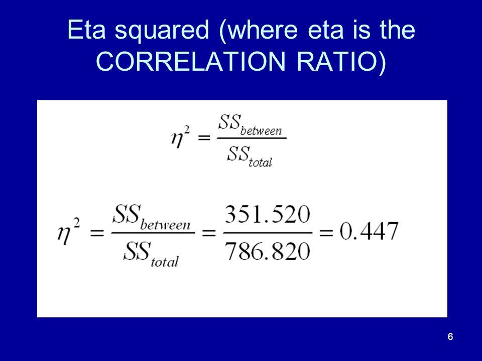 6 Eta squared (where eta is the CORRELATION RATIO)