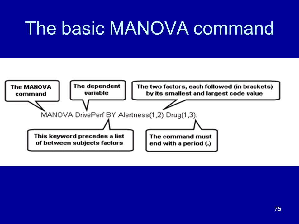 75 The basic MANOVA command