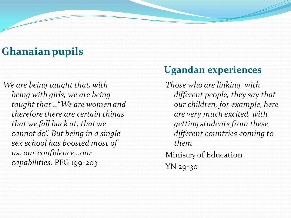 Ghanaian pupils Ugandan experiences We are being taught that, with being with girls, we are being taught that …We are women and therefore there are certain things that we fall back at, that we cannot do.