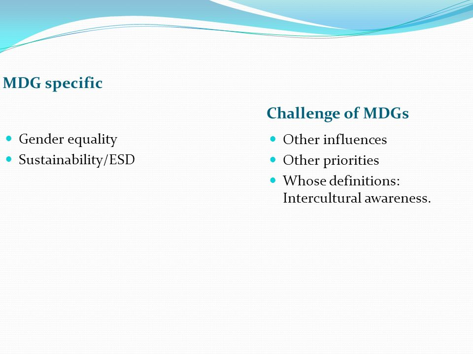 MDG specific Challenge of MDGs Gender equality Sustainability/ESD Other influences Other priorities Whose definitions: Intercultural awareness.