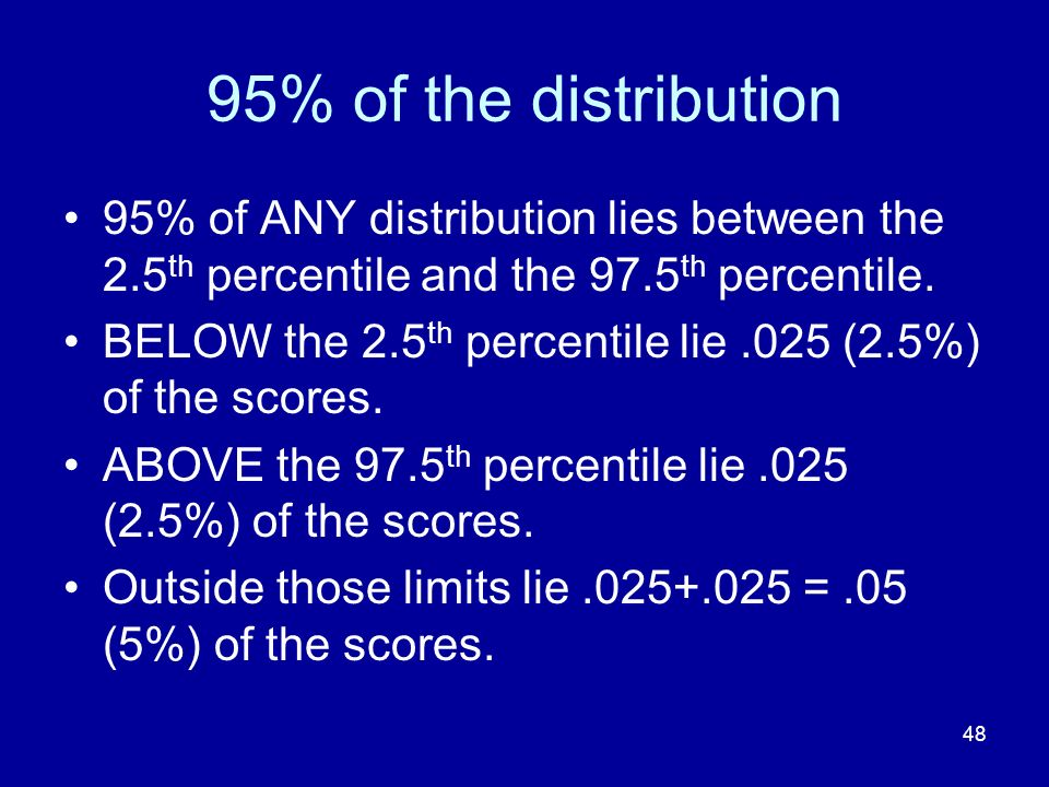 48 95% of the distribution 95% of ANY distribution lies between the 2.5 th percentile and the 97.5 th percentile. BELOW the 2.5 th percentile lie.025