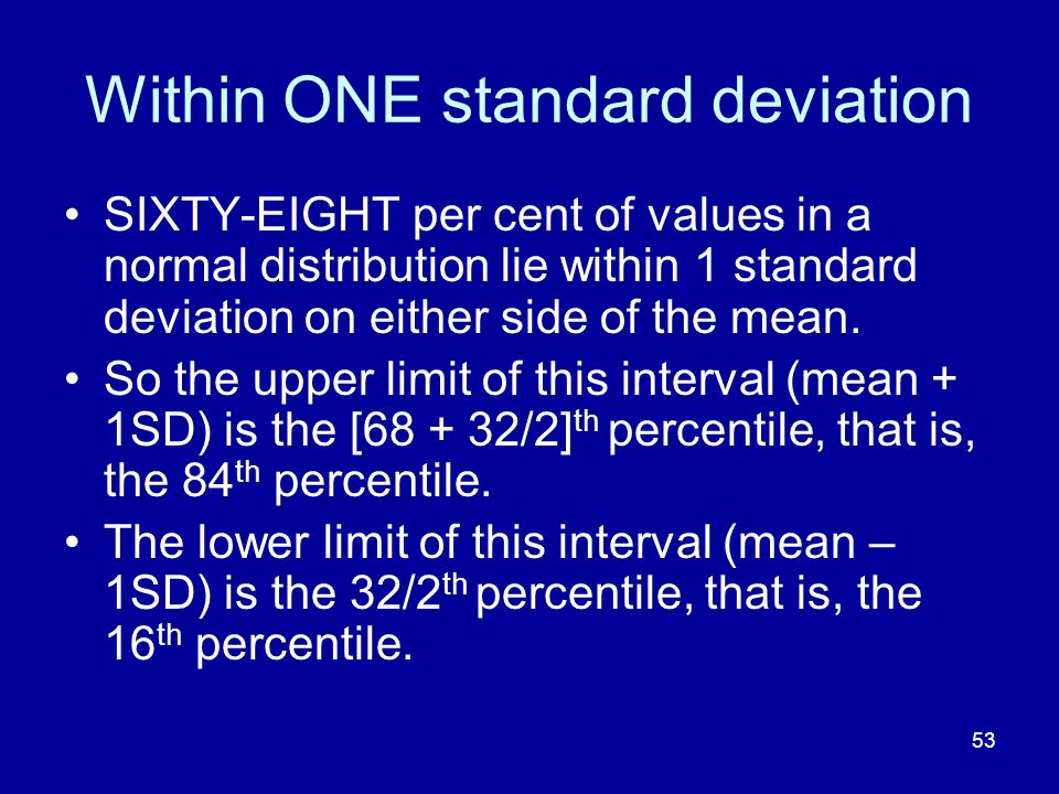 53 Within ONE standard deviation SIXTY-EIGHT per cent of values in a normal distribution lie within 1 standard deviation on either side of the mean. S