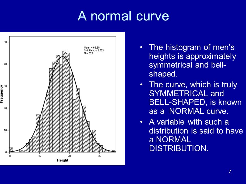 7 A normal curve The histogram of mens heights is approximately symmetrical and bell- shaped. The curve, which is truly SYMMETRICAL and BELL-SHAPED, i