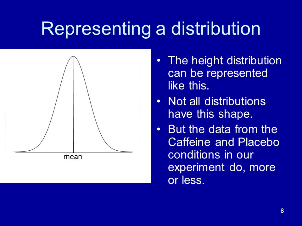 8 Representing a distribution The height distribution can be represented like this. Not all distributions have this shape. But the data from the Caffe