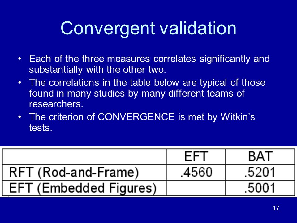 17 Convergent validation Each of the three measures correlates significantly and substantially with the other two.