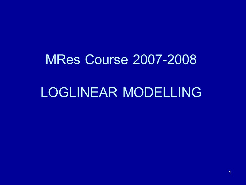 62 The two-factor loglinear model I am going to use SPSS to construct a loglinear model of the original 4 × 2 Tissue Type × Presence of Antibody contingency table.