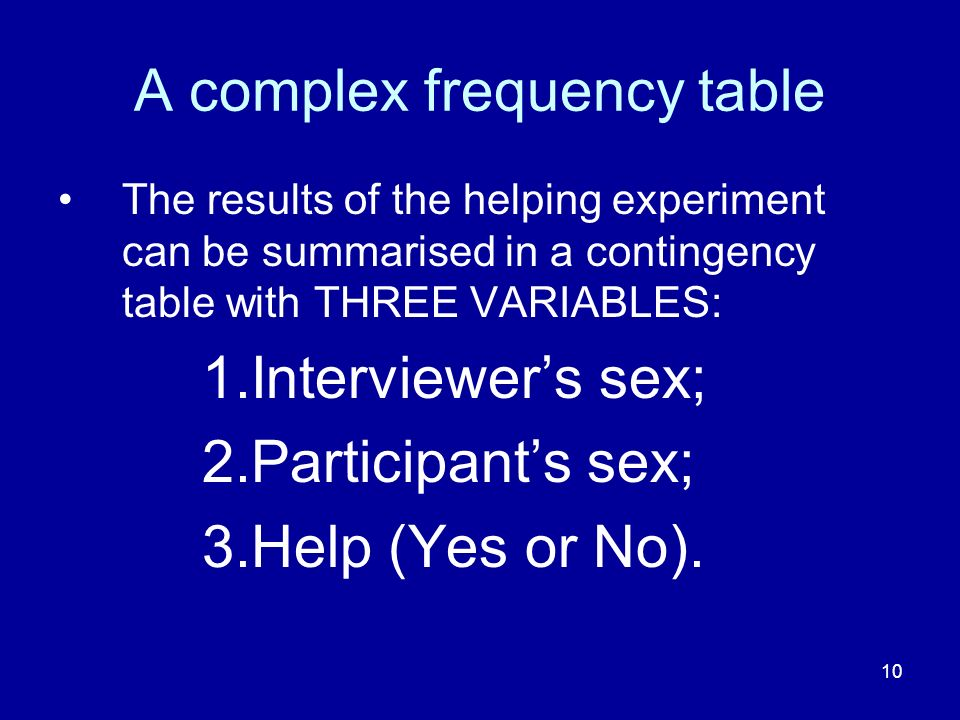 10 A complex frequency table The results of the helping experiment can be summarised in a contingency table with THREE VARIABLES: 1.Interviewers sex;