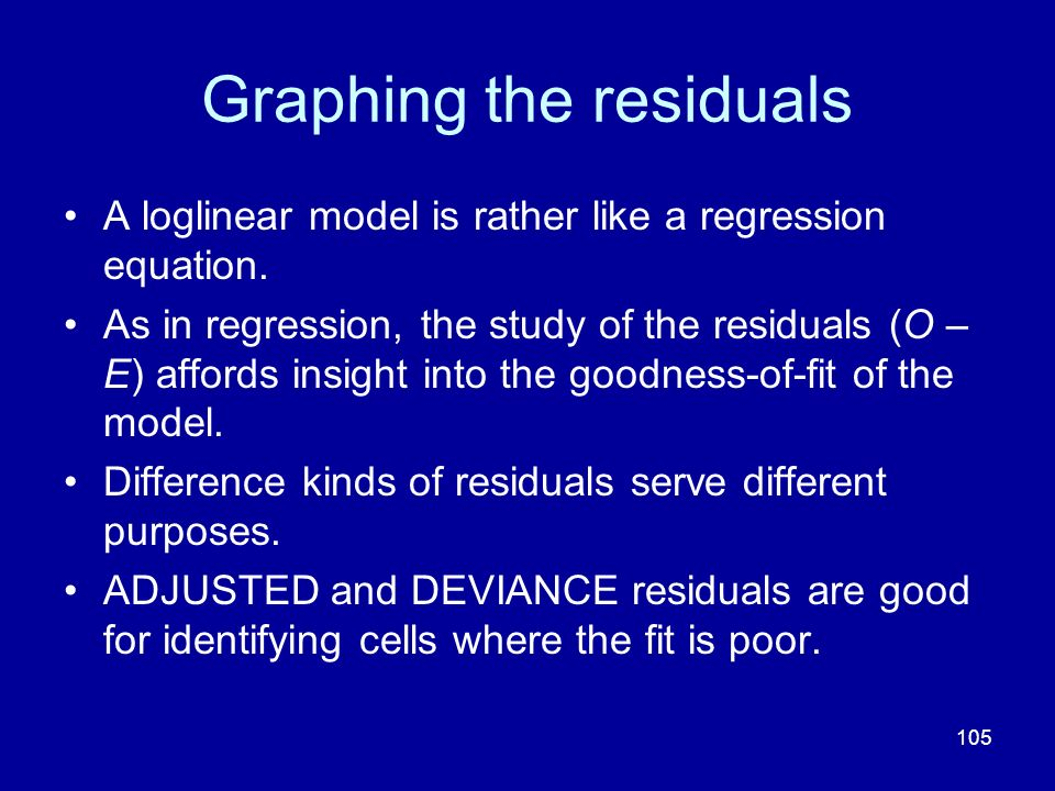 105 Graphing the residuals A loglinear model is rather like a regression equation. As in regression, the study of the residuals (O – E) affords insigh
