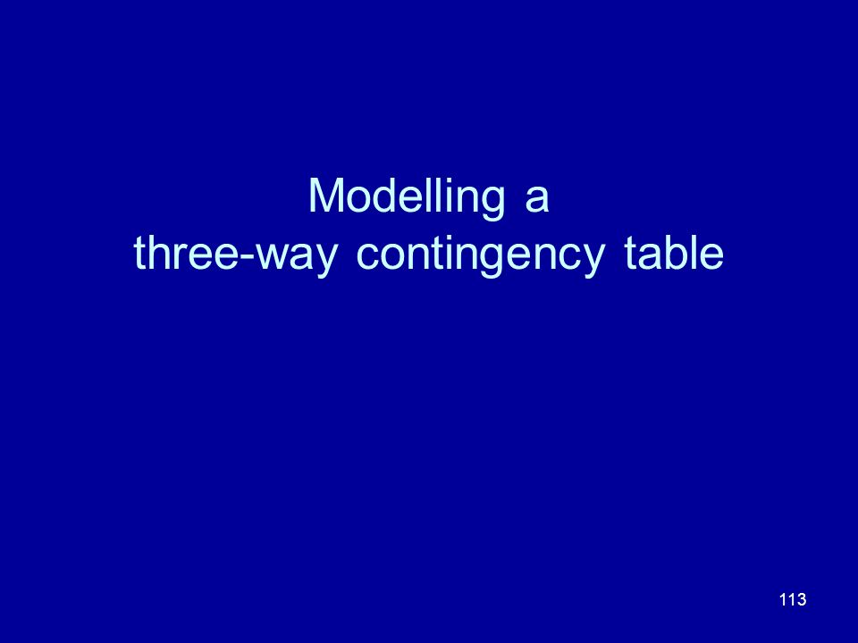 113 Modelling a three-way contingency table