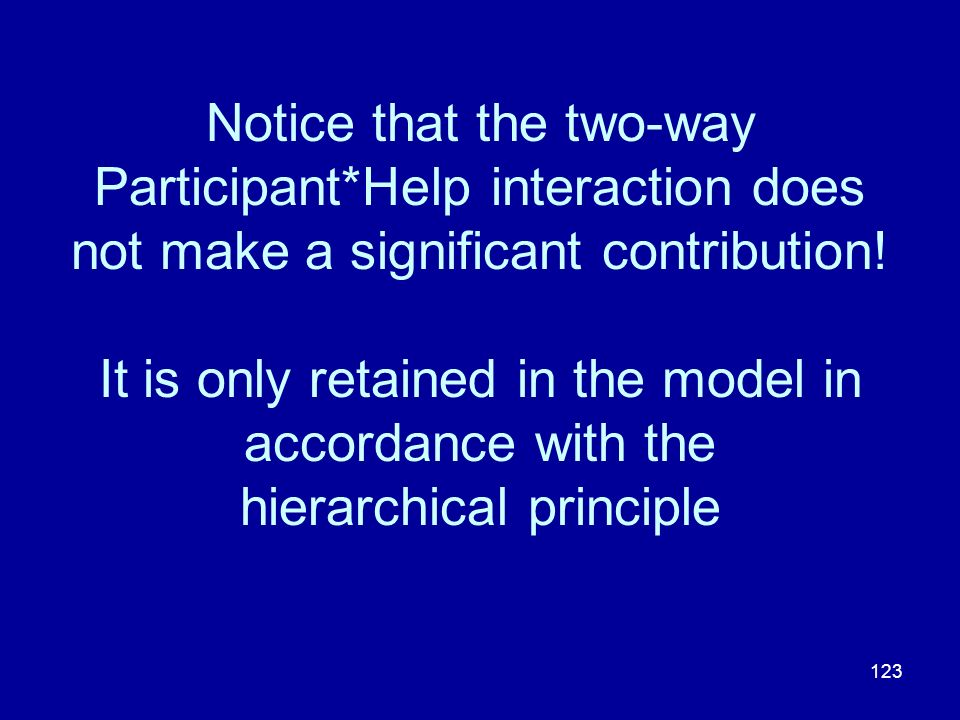 123 Notice that the two-way Participant*Help interaction does not make a significant contribution! It is only retained in the model in accordance with