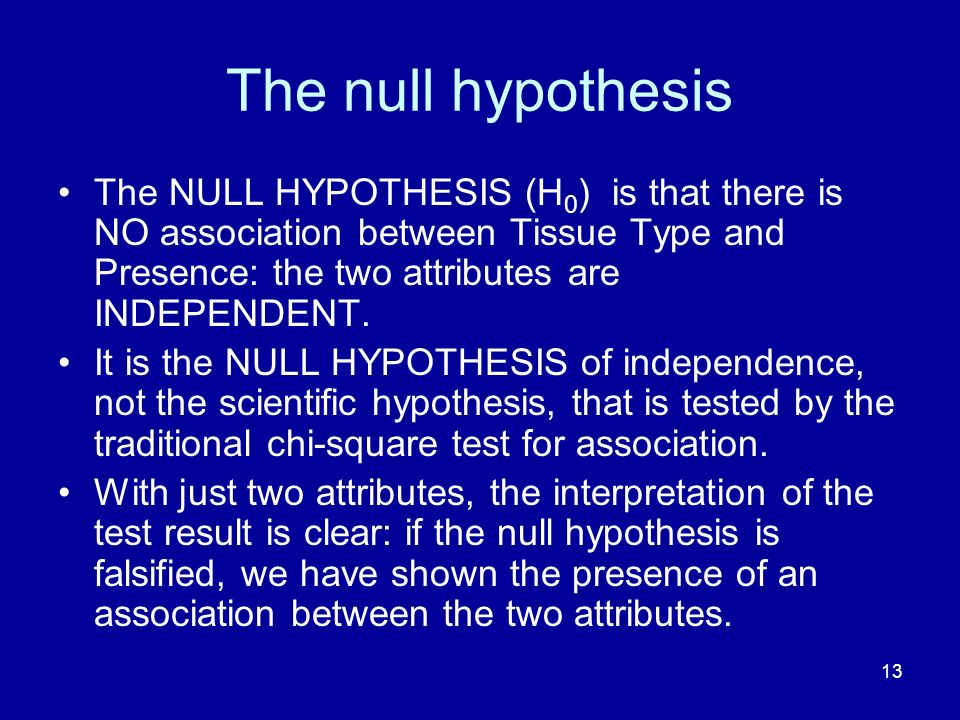 13 The null hypothesis The NULL HYPOTHESIS (H 0 ) is that there is NO association between Tissue Type and Presence: the two attributes are INDEPENDENT