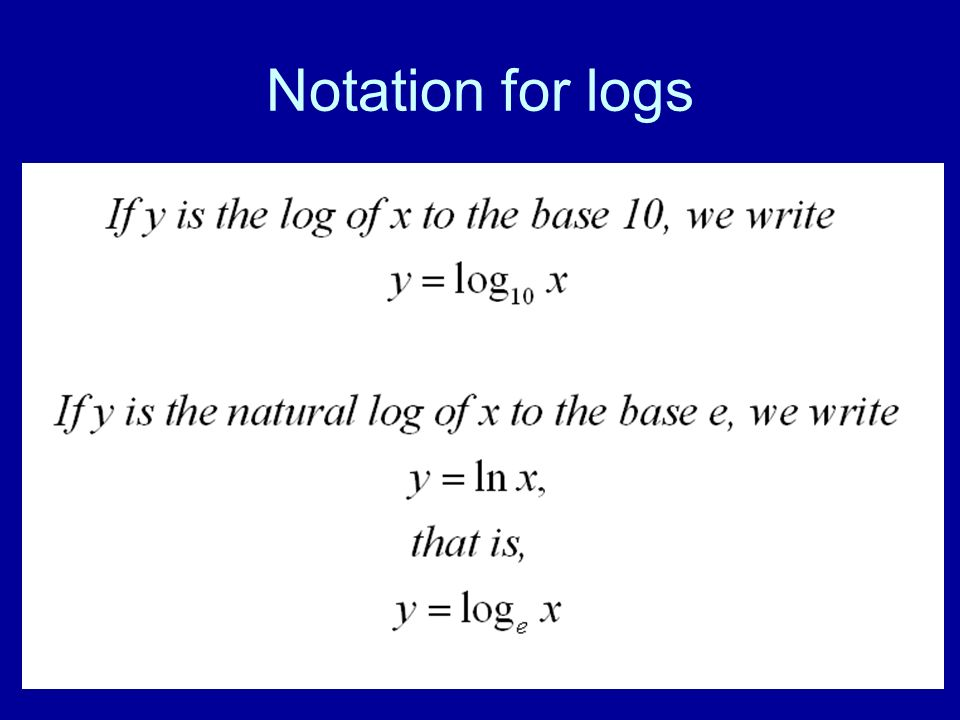 141 Notation for logs