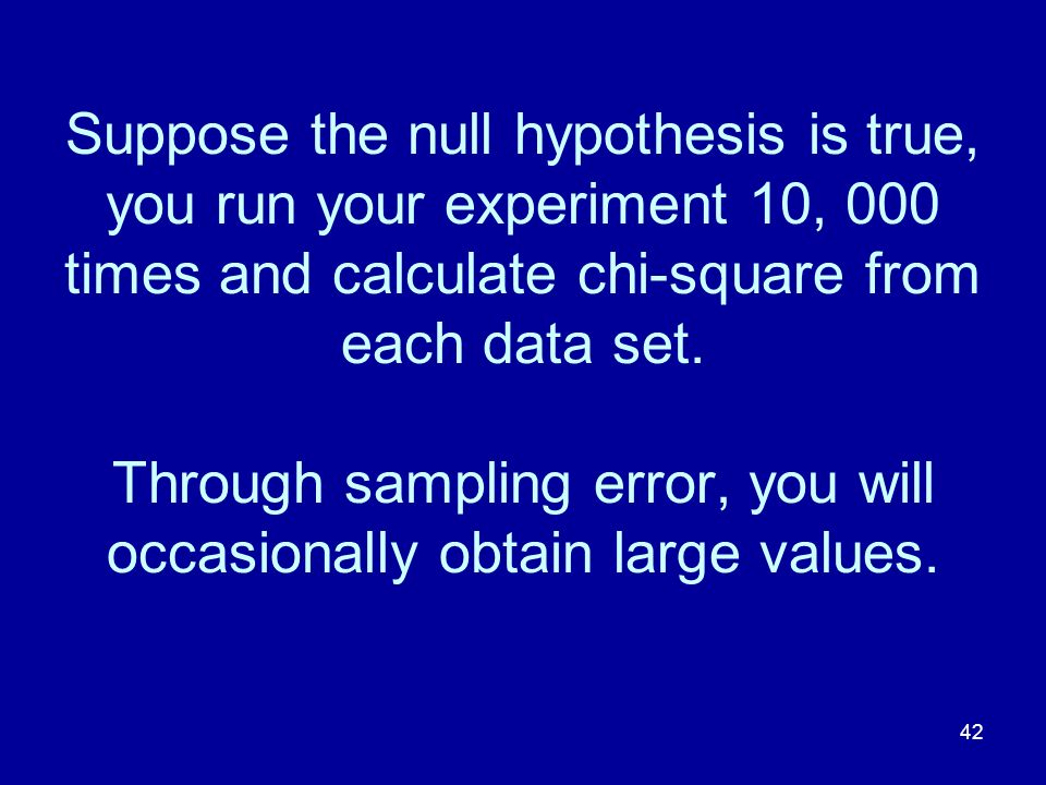 42 Suppose the null hypothesis is true, you run your experiment 10, 000 times and calculate chi-square from each data set. Through sampling error, you