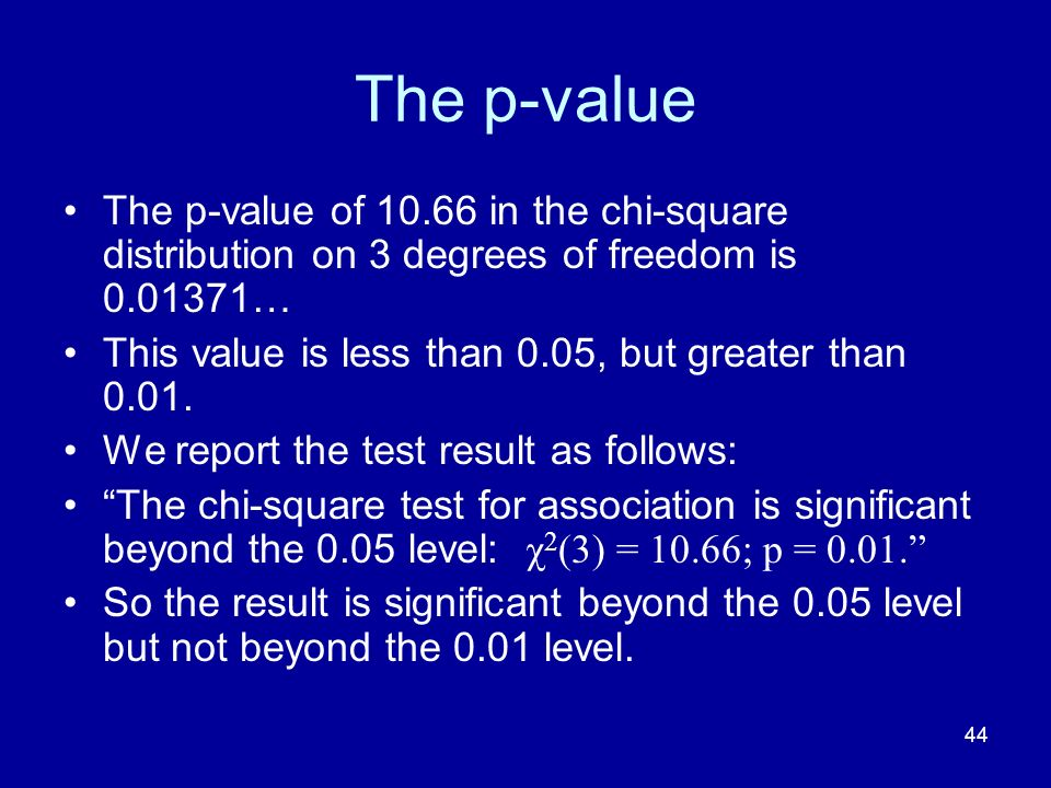 44 The p-value The p-value of 10.66 in the chi-square distribution on 3 degrees of freedom is 0.01371… This value is less than 0.05, but greater than