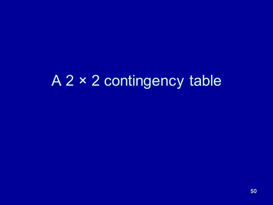 50 A 2 × 2 contingency table