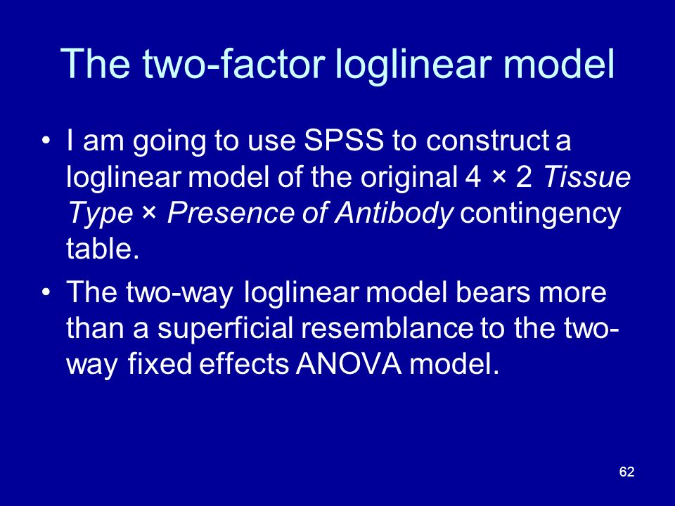 62 The two-factor loglinear model I am going to use SPSS to construct a loglinear model of the original 4 × 2 Tissue Type × Presence of Antibody conti