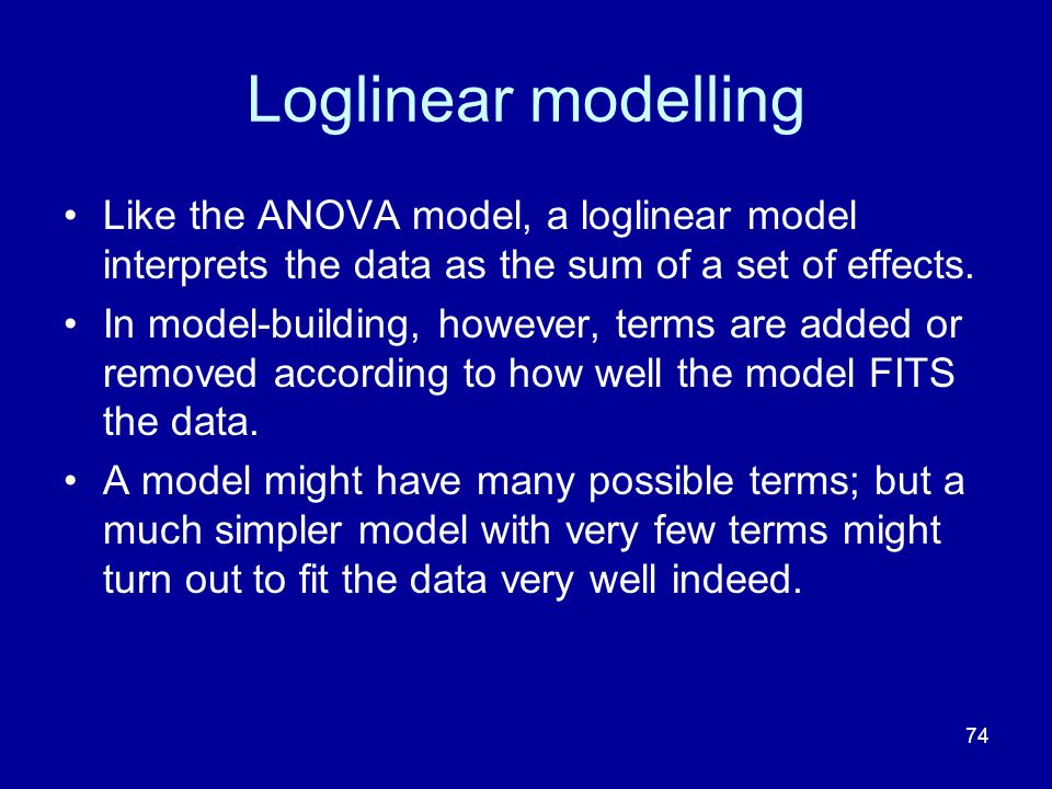 74 Loglinear modelling Like the ANOVA model, a loglinear model interprets the data as the sum of a set of effects. In model-building, however, terms a