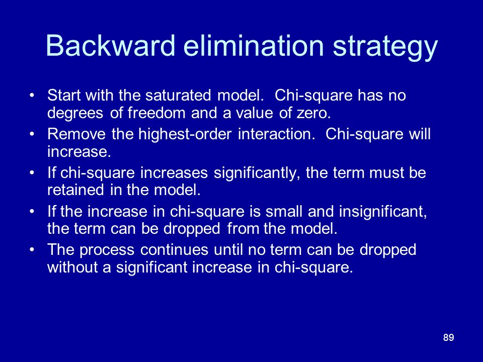 89 Backward elimination strategy Start with the saturated model. Chi-square has no degrees of freedom and a value of zero. Remove the highest-order in