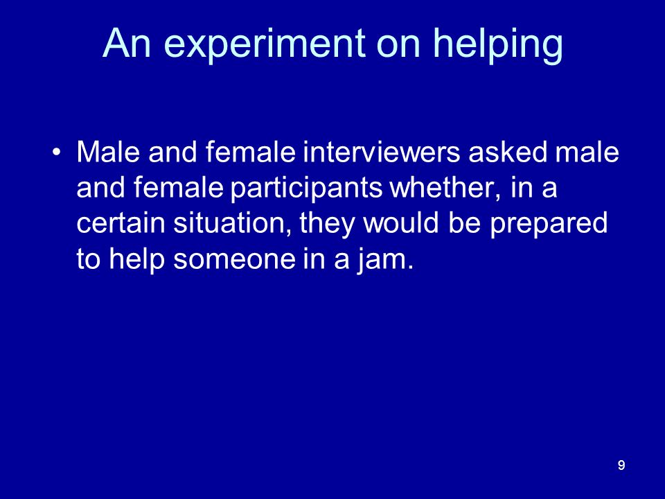 10 A complex frequency table The results of the helping experiment can be summarised in a contingency table with THREE VARIABLES: 1.Interviewers sex; 2.Participants sex; 3.Help (Yes or No).