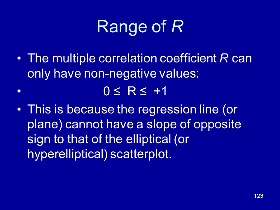 123 Range of R The multiple correlation coefficient R can only have non-negative values: 0 R +1 This is because the regression line (or plane) cannot