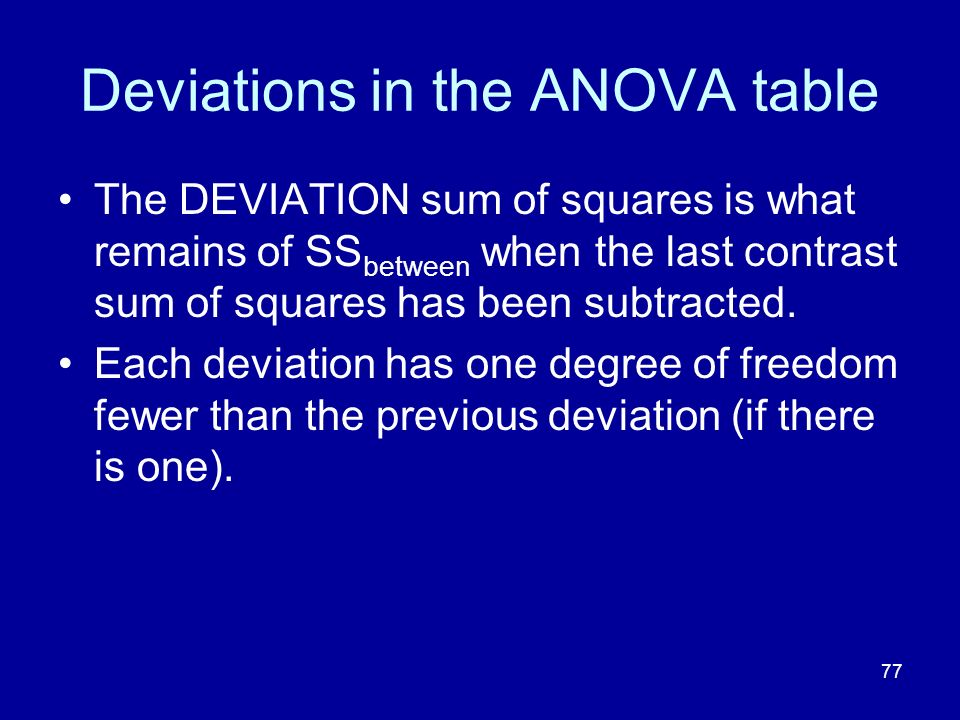 77 Deviations in the ANOVA table The DEVIATION sum of squares is what remains of SS between when the last contrast sum of squares has been subtracted.
