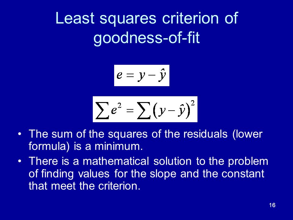 16 Least squares criterion of goodness-of-fit The sum of the squares of the residuals (lower formula) is a minimum.