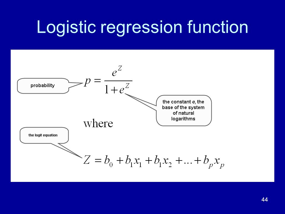 44 Logistic regression function