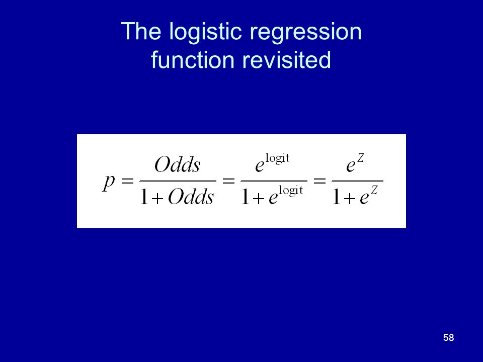 58 The logistic regression function revisited